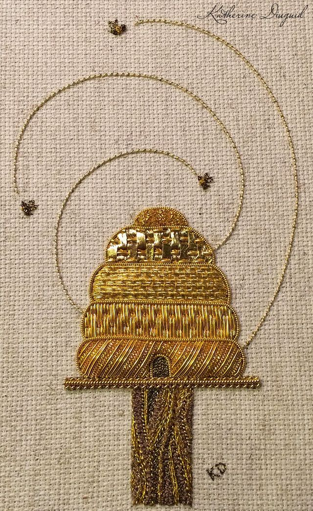 Here are a couple photos of the final beehive. My idea was to keep the actual beehive fairly traditional in technique and only use gold with matching thread. For the stand and post, I wanted to use