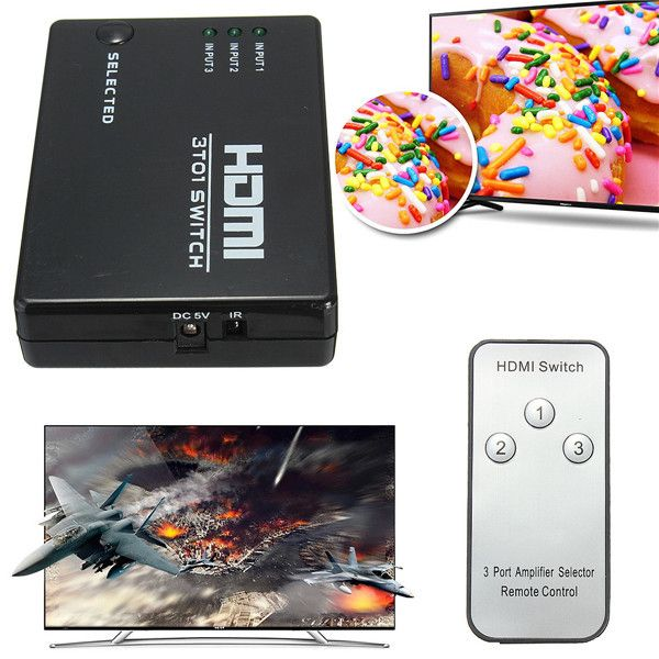 Switch Port With Remote For HDTV Wii U PS3 Xbox 360 3 Way HDMI Splitter Hub. 3 Input Ports Way HDMI Splitter Hub Switch Port With Remote For HDTV Wii U PS3 Xbox 360   Specification:      Input DDC Signal  5V p-p (TTL)    Maximum Single Link Range  1920 x 1080p    Output Video  HDMI 1.4b    Vertical Frequency Range  50 / 60 Hz    Video Amplifier Bandwith  2.5Gbps / 250MHz…