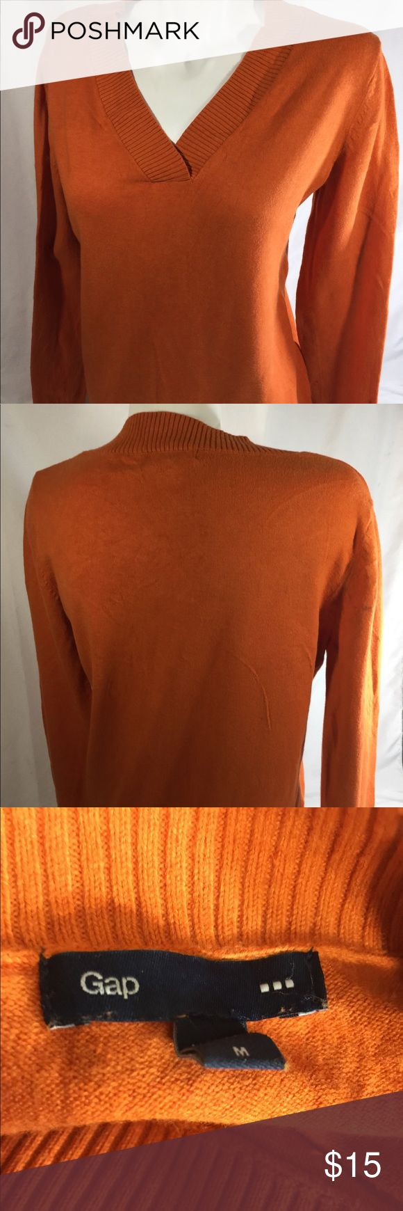 Gap Women Orange Blouse Long Sleeve V-neck  Size M Length top to bottom 25 inches  Chest armpit to armpit 19 inches  Size M  Measurement laying down  Best offer  Any questions let us know thank you  Bin 108# 4  Little stain on the back washable   Gap Women Orange Blouse Long Sleeve V-neck Thin Fabric Read Close Detail Size M GAP Tops Blouses