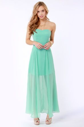 Hit List Strapless Mint Green Maxi Dress at LuLus.com!... DIANA
