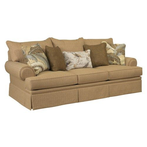 Broyhill furniture helena traditional skirted sofa with for Broyhill chaise lounge cushions