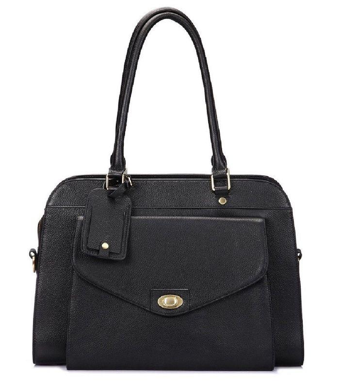 Lea Marie Leather Professional Women Laptop Bag Business Tote - Black