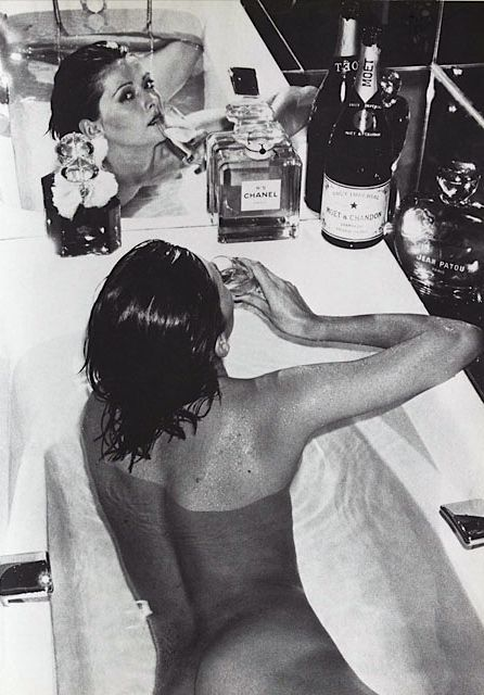 Chris Von Wangenheim Vogue Paris December 1973. Champagne & Chanel N°5
