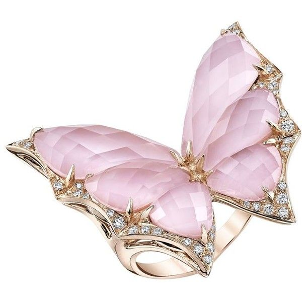 Stephen Webster Fly By Night Large Crystal Haze Ring ($5,950) ❤ liked on Polyvore featuring jewelry, rings, wing ring, pink ring, pink jewelry, crystal stone jewelry and pink crystal jewelry
