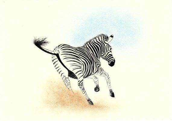 Zebra Pen Drawing Animal Art by ArtStuffByJess on Etsy