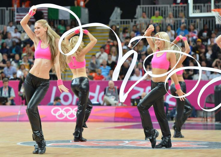 Cheerleaders perform at the end of the men's preliminary round basketball match USA vs Nigeria during the London 2012 Olympic Games on August 2.