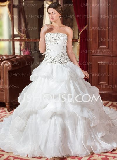 Wedding Dresses - $248.99 - Ball-Gown Strapless Cathedral Train Organza Wedding Dress With Embroidery Ruffle Beadwork Sequins (002012744) http://jjshouse.com/Ball-Gown-Strapless-Cathedral-Train-Organza-Wedding-Dress-With-Embroidery-Ruffle-Beadwork-Sequins-002012744-g12744
