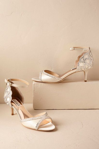 How beautiful are these crystal-lined Badgley Mischka? The 2-inch heel makes these a great choice for dancing! | Ivory Chaumont Heels | BHLDN | Comfortable Wedding Shoes | Vintage Bridal Shoes | Wedding Fashion | Bride Style
