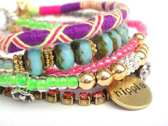 The Original OOAKjewelz multiple strands gypsy bracelet - neon friendship bracelet - handstamped hippie tag - boho chic hippie jewelry
