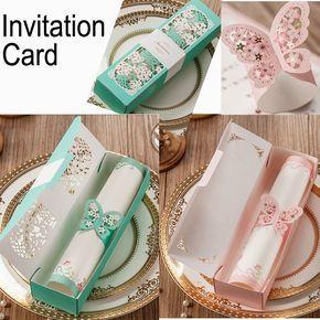 Rosa tarjeta de invitación de boda de la mariposa elegante corte láser decoración de papel partido amante romántico invitando tarjeta de invitación de la boda(China (Mainland))