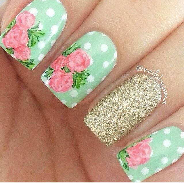50 Flower Nail Designs for Spring   Diseño, Primavera y Diseño de uñas