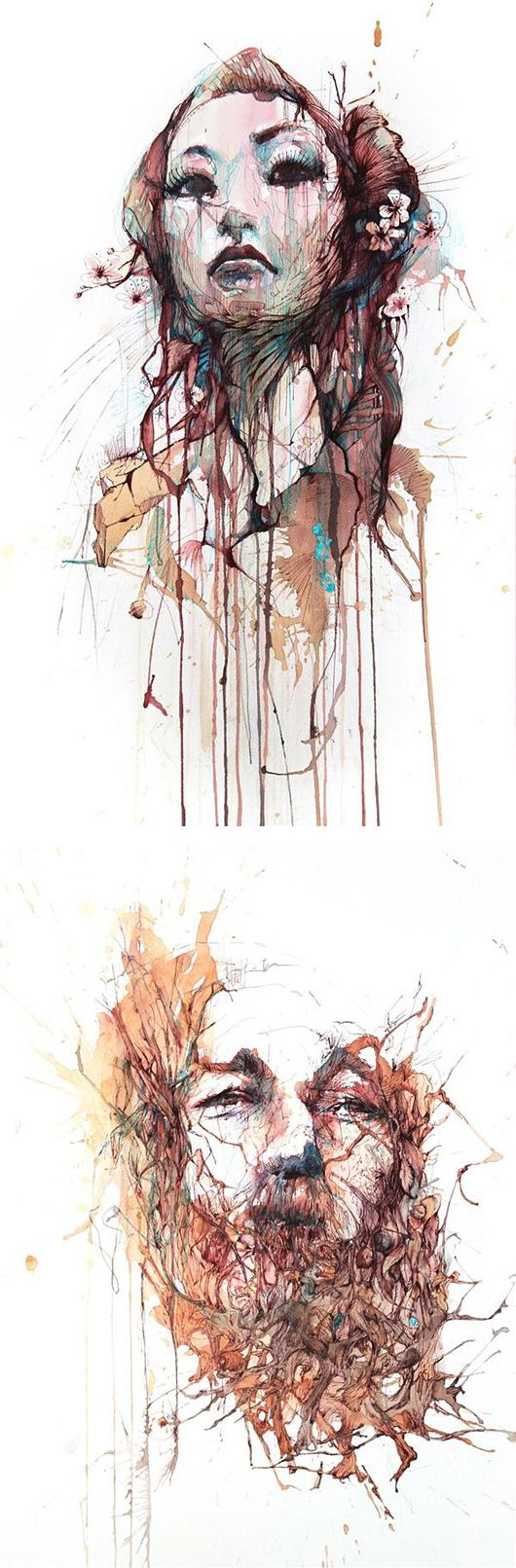 Tea, Vodka, Whiskey and Ink Portraits by Carne Griffiths. This artwork has caught my attention because i felt inspired by the chaos within this artwork. The abstract lines and the chaotic mix of colours bring the artwork together and form a very exiting artwork. The layers of lines and different patterns create tones and shades in very interesting way. I also like how the artists uses different medias which inpire me as well.I also like the use of this white background which suit the…