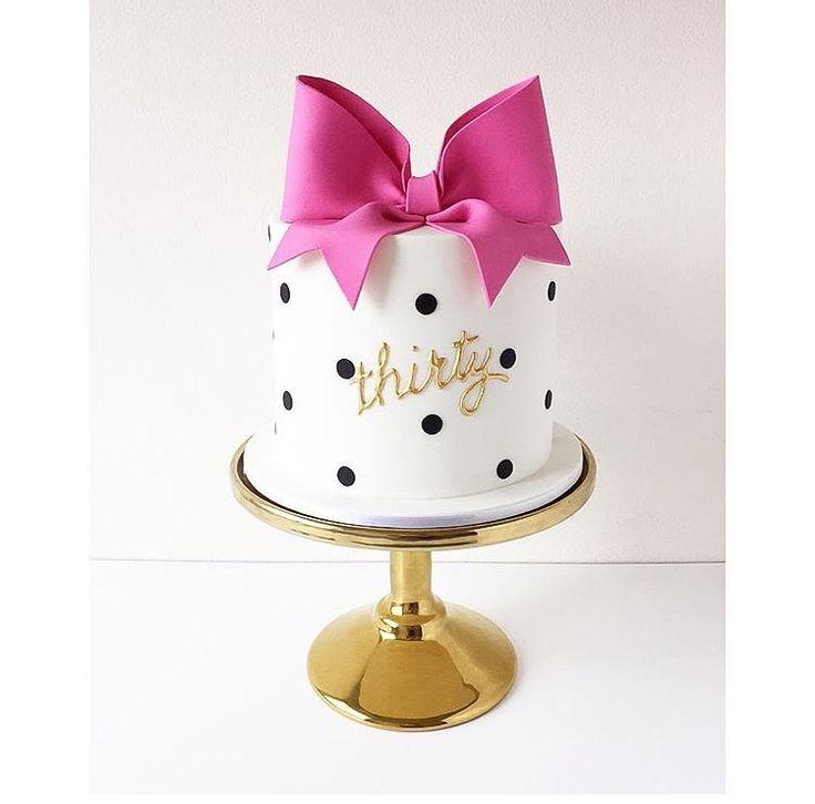 Thirty Birthday Cake - Kate Spade inspired bow and polka dot cake: