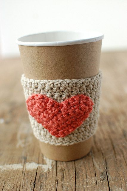 The Cozy Project: Natural Coffee Cup Cozy with Coral Heart (finished item for purchase on Etsy) <3
