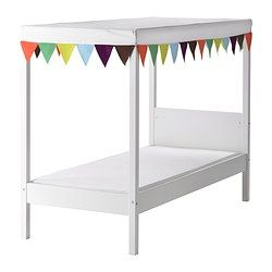 ÖVRE Bed with slatted base and canopy - IKEA