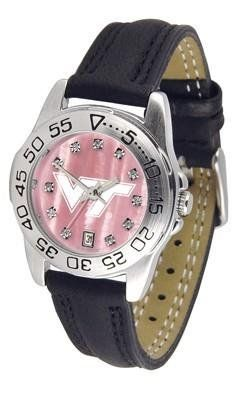Virginia Tech VT Hokies Ladies Leather Pink Sports Watch by SunTime. $62.95. Adjustable Band. Calendar Function With Rotating Bezel. Women. Leather Band-Crystal-Mother Of Pearl Dial. Officially Licensed Virginia Tech Hokies Ladies Leather Pink Sports Watch. Virginia Tech Hokies ladies leather sports watch. This Hokies wrist watch with genuine leather band, date calendar function, and rotating bezel/timer that circles the scratch-resistant crystal. The scratch resistant face...