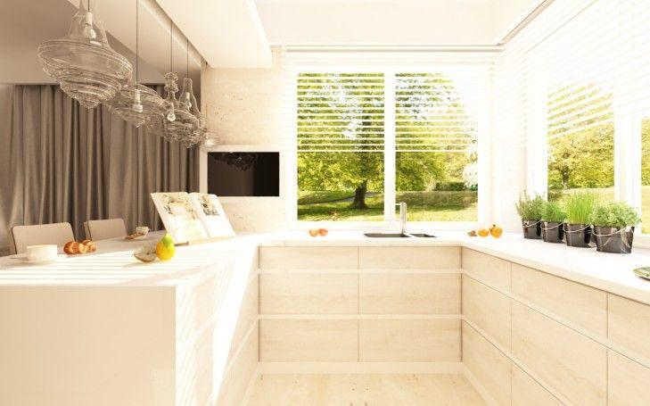 Projekt wnętrz otwartej kuchni w ciepłych barwach. Naturalny kamień i szklane lampy tworzą przyjazny domowy klimat...