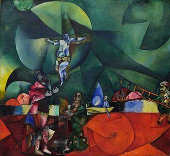 Marc Chagall, 1912, Calvary (Golgotha), oil on canvas, 174.6 x 192.4 cm, Museum of Modern Art, New York. Alternative titles: Kreuzigung Bild 2 Christus gewidmet [Golgotha. Crucifixion. Dedicated to Christ]. Sold through Galerie Der Sturm (Herwarth Walden), Berlin to Bernhard Koehler (1849–1927), Berlin, 1913. Exhibited: Erster Deutscher Herbstsalon, Berlin, 1913