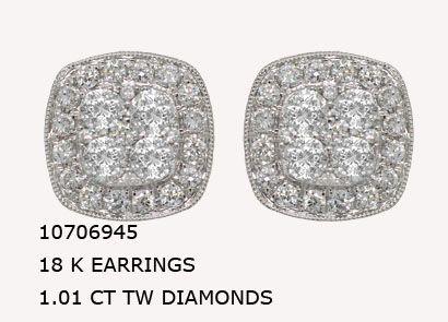 10706945 18 K EARRINGS 1.01 CT TW DIAMONDS