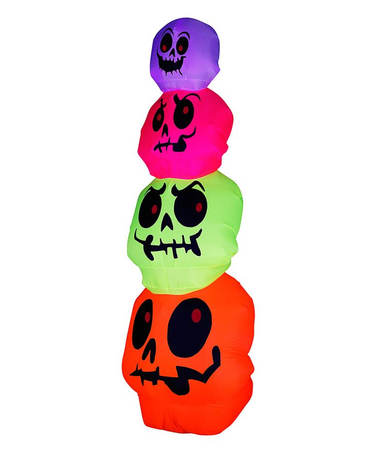 neon stacked skulls inflatable lawn decoration by arett