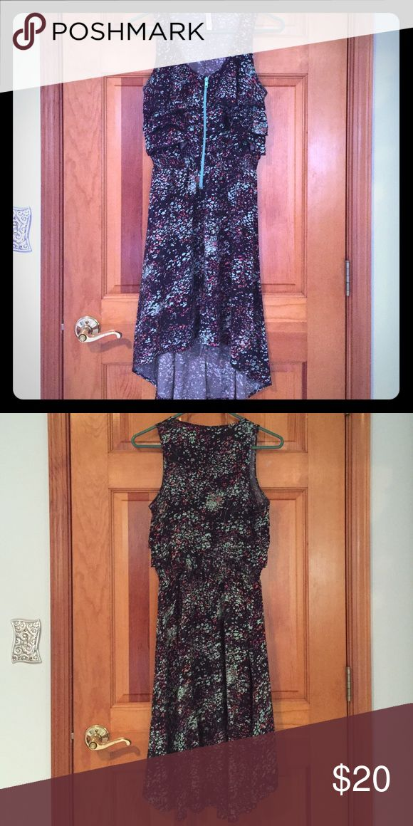 Xhilaration Dress Flowery dress in navy blue with turquoise, grays, and pinks. Zipper in front. Xhilaration Dresses