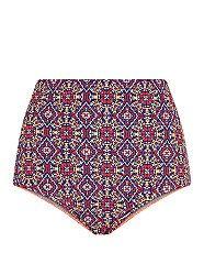 Multi Coloured Tile Print High Waisted Bikini Bottoms    New Look