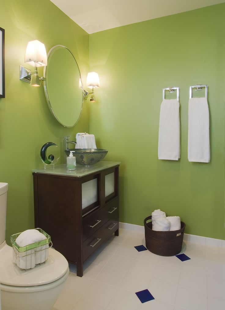 Special Twin Face Towel Rings Feat Glass Basin Or Round Mirror On Powder Room Vanity Ideas Along With Green Wall Paint