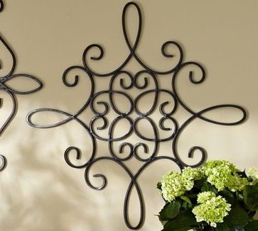 Iron Wall Medallion, Square - contemporary - outdoor decor - Pottery Barn. I like this for outside of house.