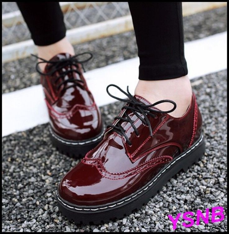 Women Faux Patent Leather Casual Wedge Low Heels Pumps Date Ol Retro Hot Shoes