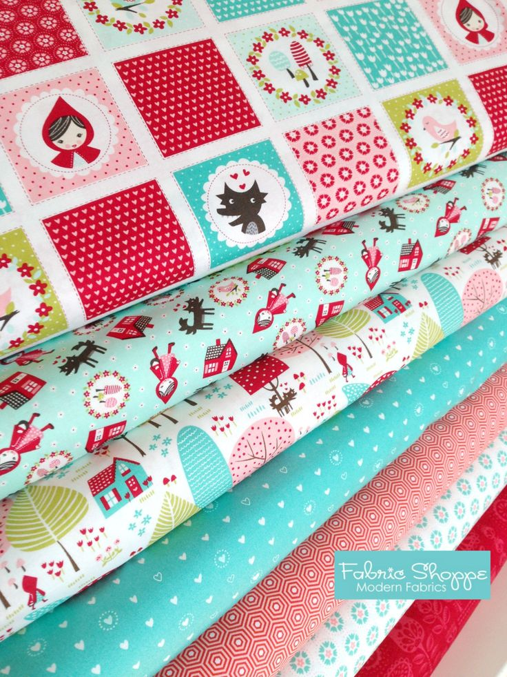 Red Riding Hood Fabric, Little Red fabric, Stacy Hsu, Novelty fabric, Kids fabric, Fabric by the Yard, Choose the Cut, Fabric bundle of 7 by FabricShoppe on Etsy