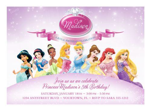 Disney Princess Invitation for Birthday Party - Printable Digital ...