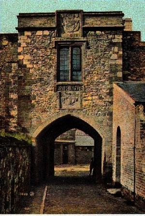 Entrance gate, Taunton Castle, Somerset, UK
