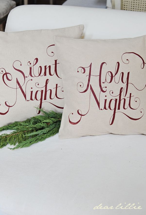 In Stock! Silent Night-Holy Night Pillow Cover Set in Cranberry