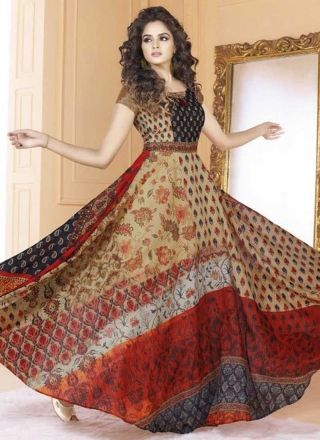 769b928d97 Cream Colour Embroidery Work Printed Silk Fabric Designer Party Wear Long  Gown