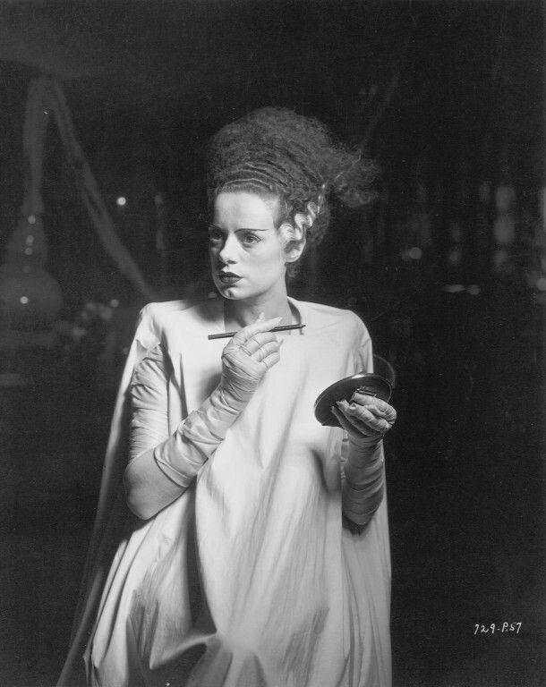 Elsa Lanchester on set of The Bride of Frankenstein 1935