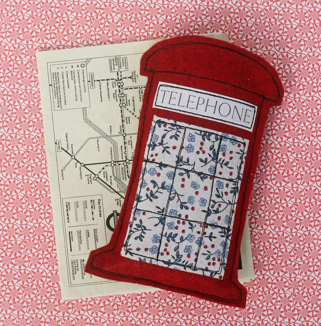 "the cutest little phone pouch! I've GOT to make this for my ""London Calling"" purse!!!"