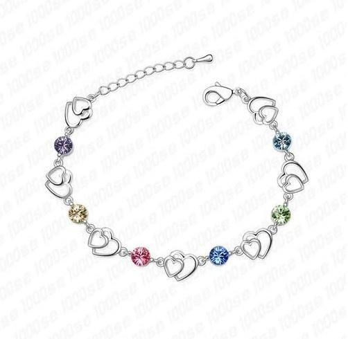 Swarovski Elements Multi Crystal Double Heart Platinum Plated Bracelet