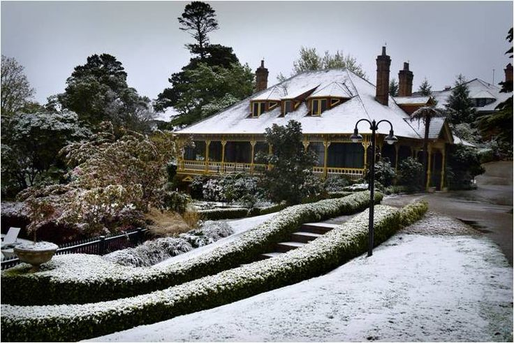 It snowed in the mountains in October 2012, making the hotel and Darleys Restaurant looked magical covered in white.