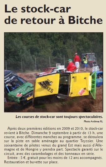 Cette année encore... le stock car est de retour à Bitche !  Source : RL du 2/09/2012