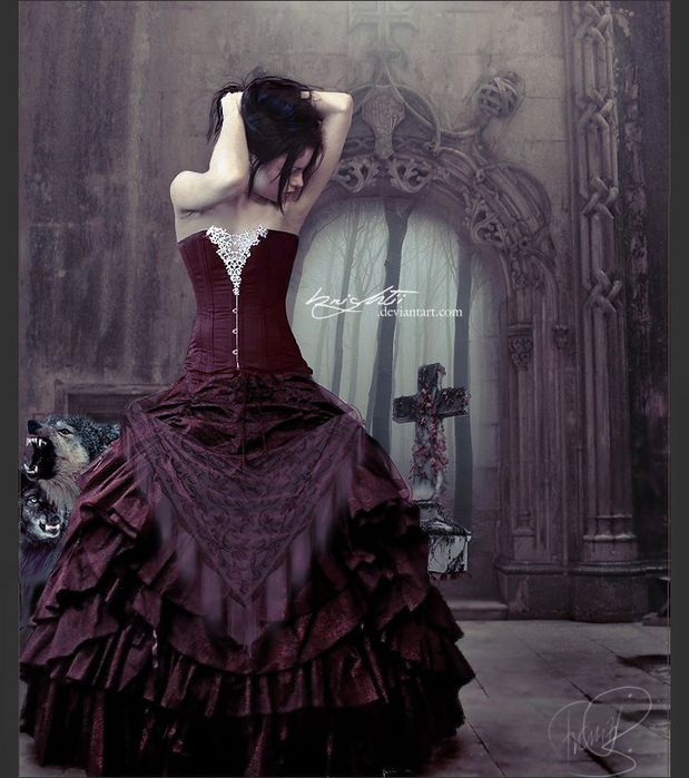 Love burgundy as a Neo-Victorian #Goth girl look. The background is great too!
