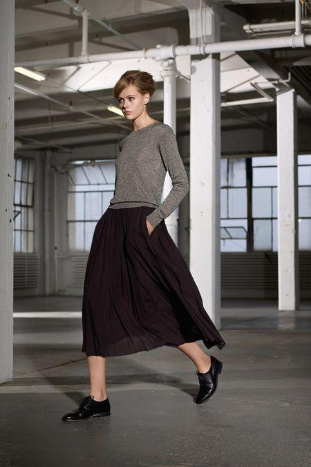 Black midi skirt, grey sweater, glossy oxfords
