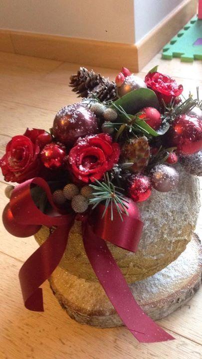 Kerst# rode tinten# bloemstuk