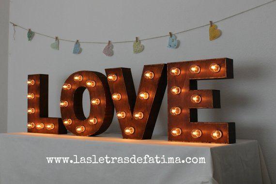 Love Letras Con Luces De Madera 100 Artesanal Luces De Madera Letras De Madera Y Decoracion Con Madera