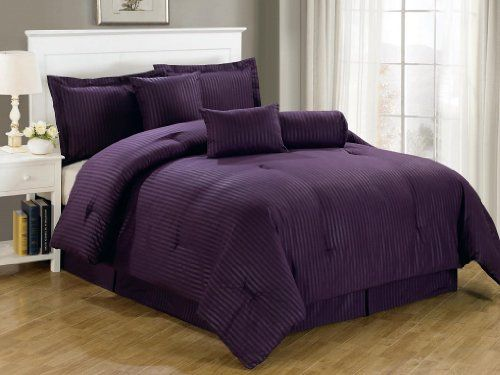 Solid Purple Dobby Stripe, Hotel Collection Comforter Set - Purple Bedroom Ideas