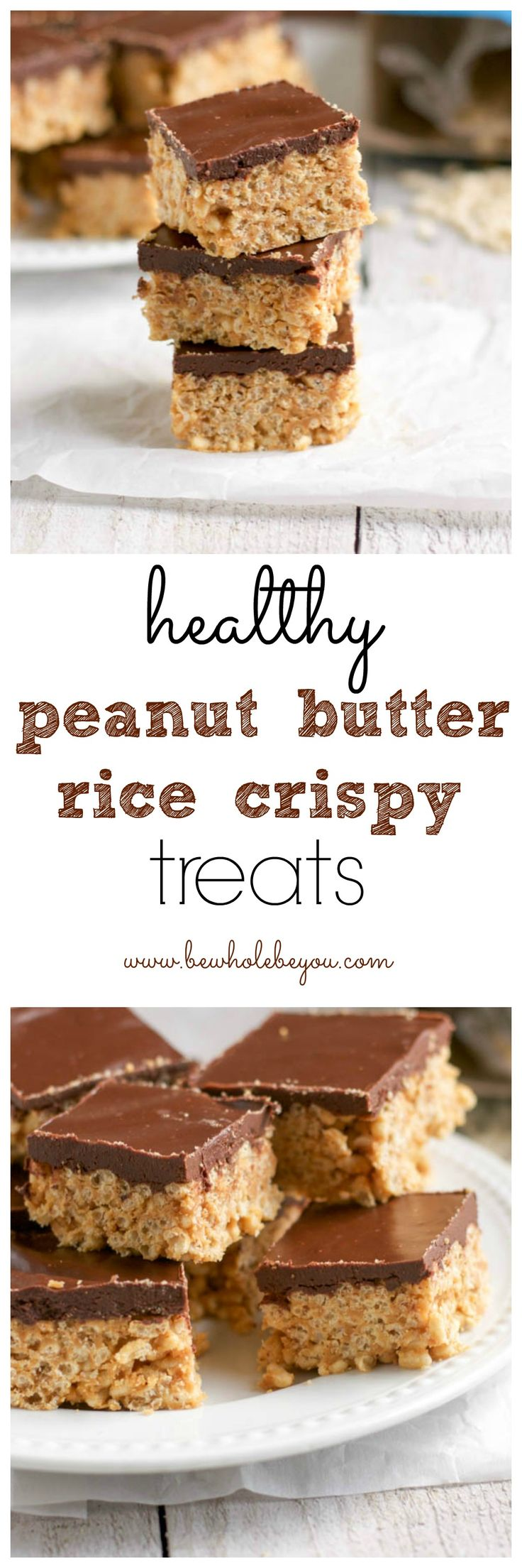 Healthy Peanut Butter Cup Rice Crispy Treats. Be Whole. Be You.