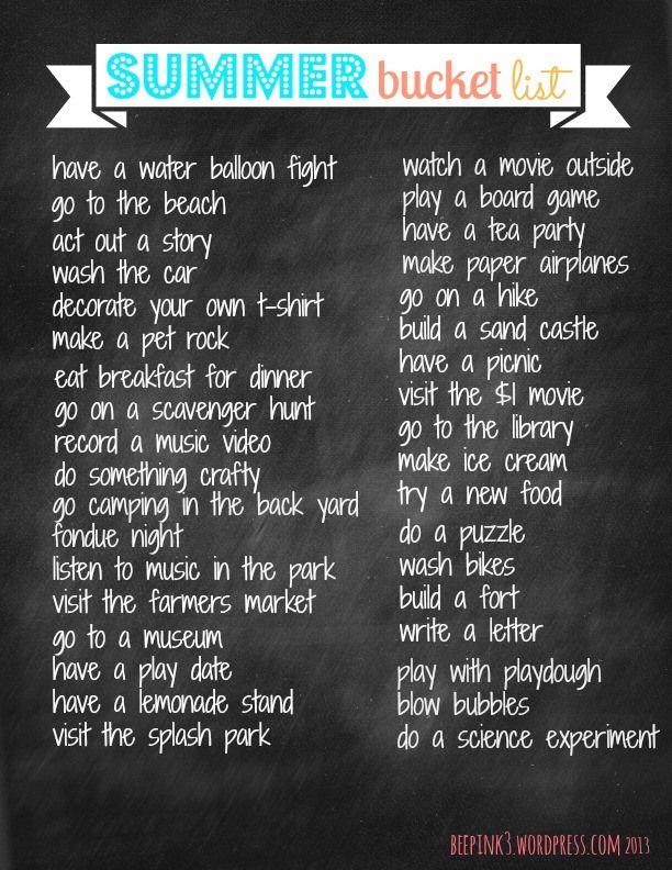 Free Summer Bucket List printable@ beepink3.wordpress.com #kids