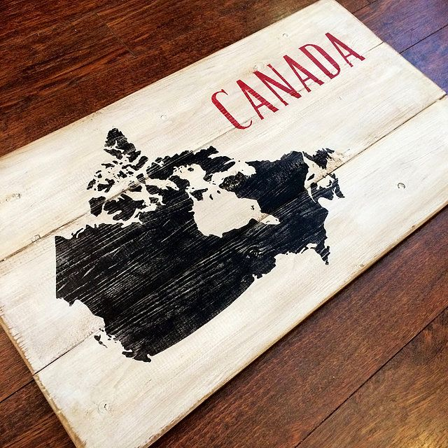 Canada map sign | rustic Canada map | rustic sign | wood sign | painted