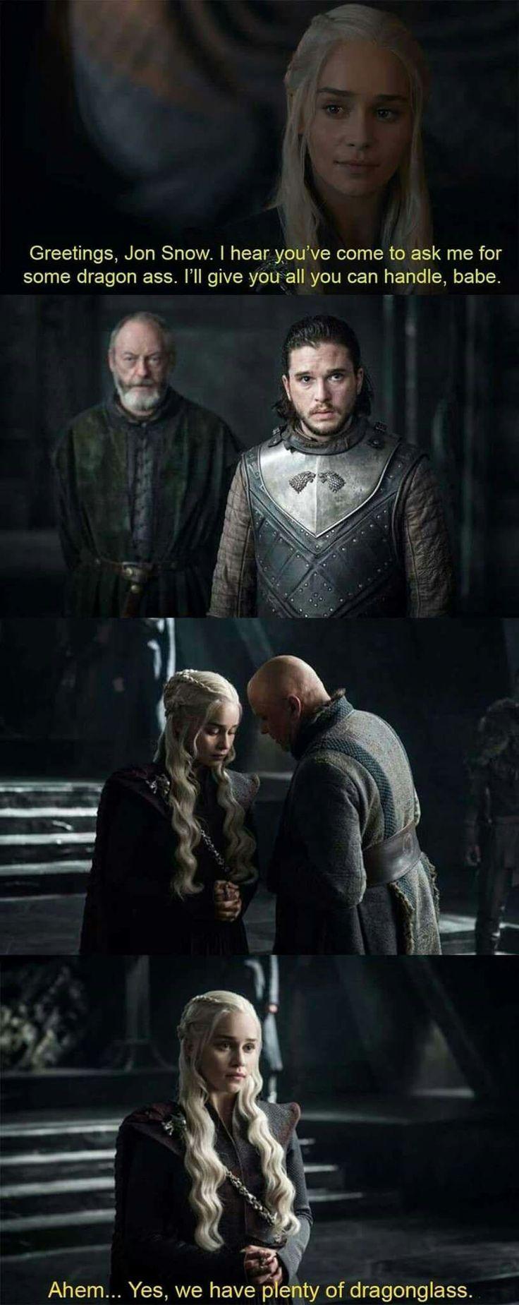Game of thrones funny humour meme, season 7. Jon Snow, Daenerys Targaryen, Ser Davos Seaworth, Kit Harington, Emilia Clarke
