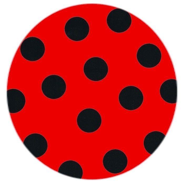 Bomuldsstof med Cirkeline eller Mariehøne bomber, rød/sort, pr. 0,25 m.
