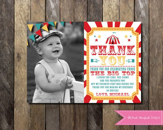 Printable Birthday Party Invitation, Carnival Birthday Party Invitation, Circus Birthday Party, Thank You Card, First Birthday, Digital Printable Invitation, Etsy, Pink Starfish Designs